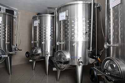 The fermentation tanks in the basement